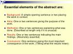essential elements of the abstract are