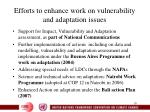 efforts to enhance work on vulnerability and adaptation issues