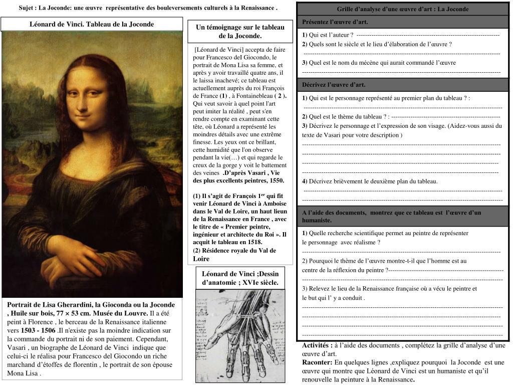 Sujet : La Joconde: une œuvre  représentative des bouleversements culturels à la Renaissance .