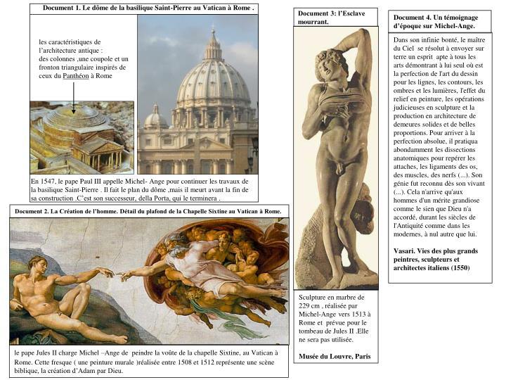 Document 1. Le dôme de la basilique Saint-Pierre au Vatican à Rome .