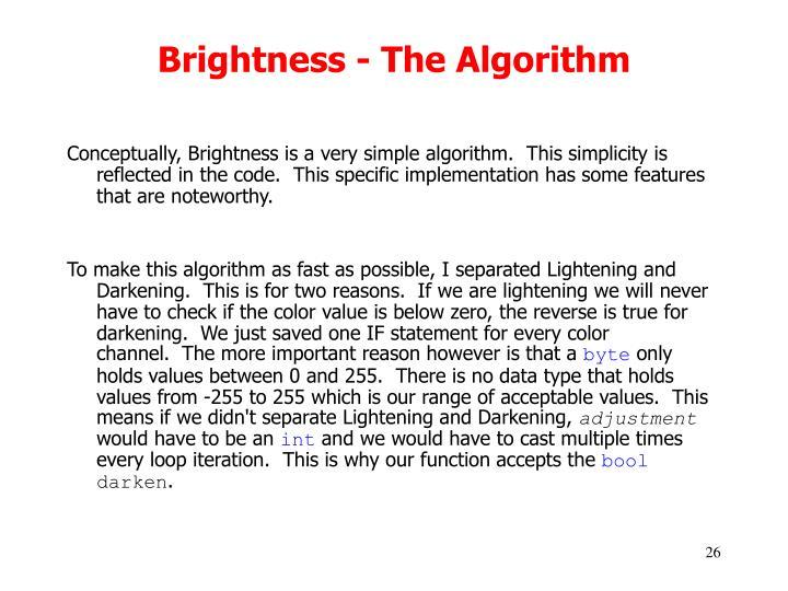 Brightness - The Algorithm