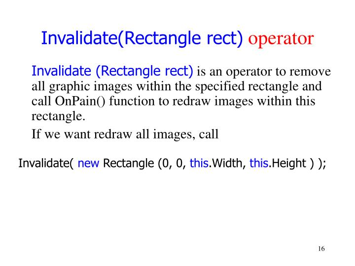 Invalidate(Rectangle rect)