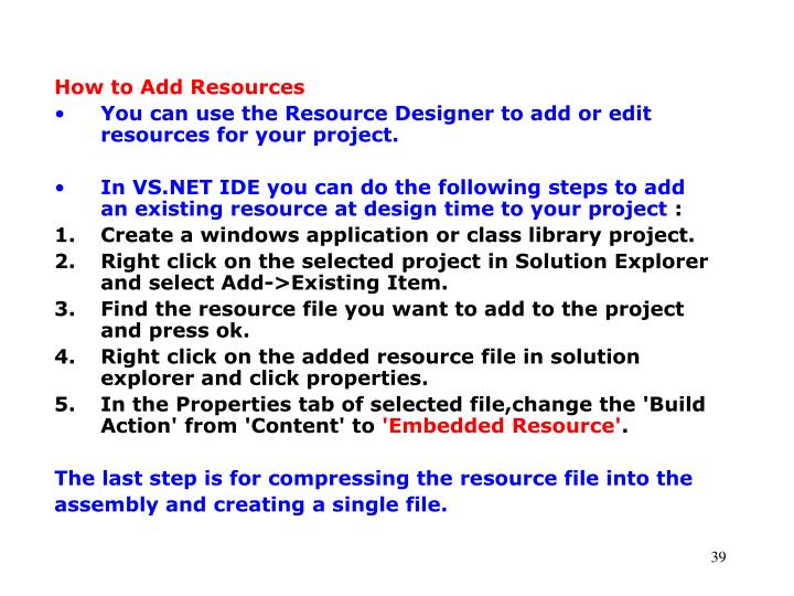 How to Add Resources
