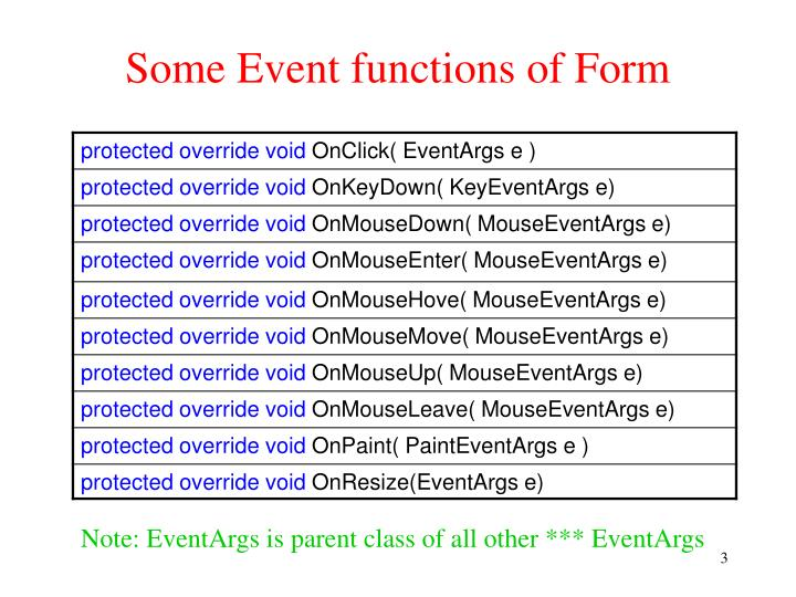 Some event functions of form