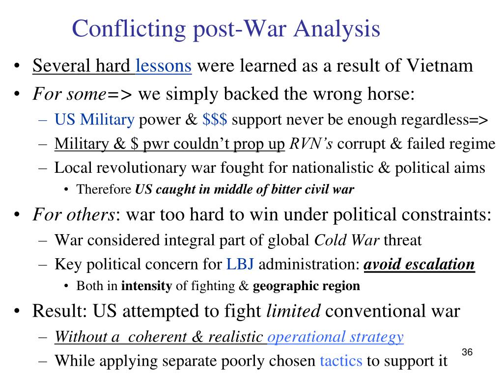 Conflicting post-War Analysis