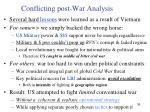 conflicting post war analysis