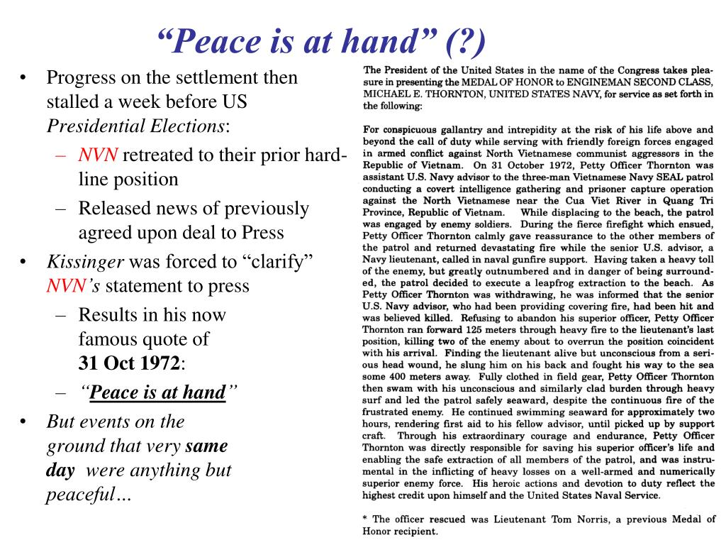 """""""Peace is at hand"""" (?)"""