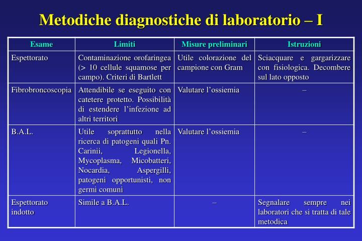 Metodiche diagnostiche di laboratorio – I