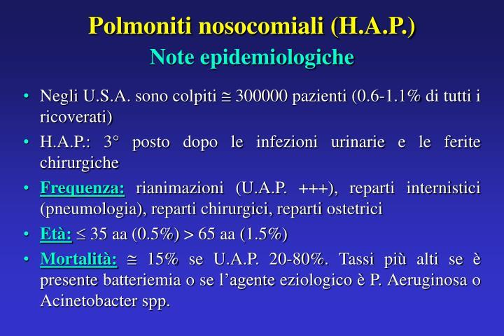 Polmoniti nosocomiali (H.A.P.)