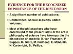 evidence for the recognized importance of the discussion