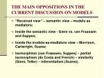 the main oppositions in the current discussion on models
