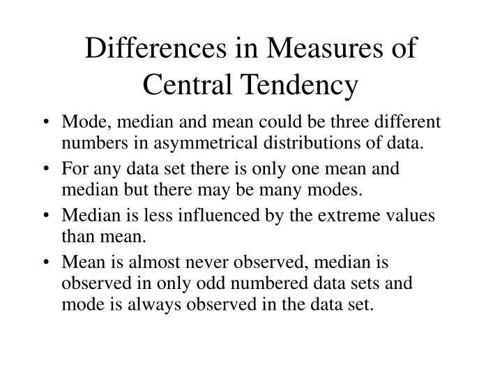 Differences in Measures of Central Tendency