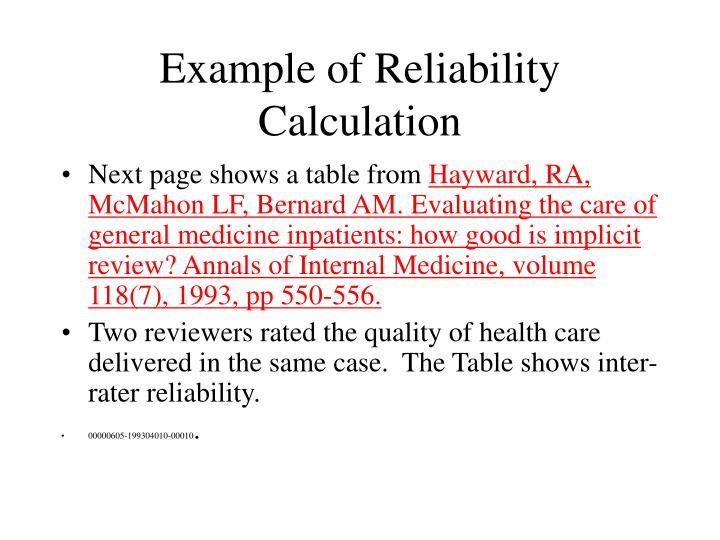 Example of Reliability Calculation
