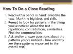 how to do a close reading