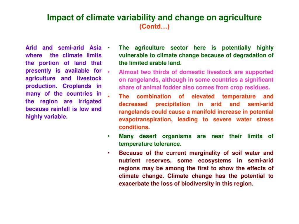 Impact of climate variability and change on agriculture
