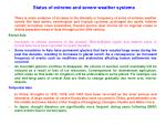 status of extreme and severe weather systems