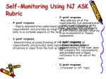 self monitoring using nj ask rubric