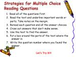 strategies for multiple choice reading questions