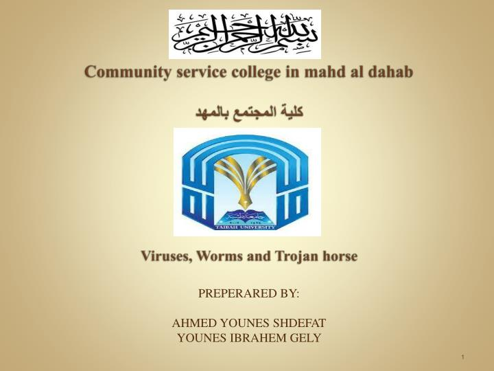community service college in mahd al dahab viruses worms and trojan horse n.