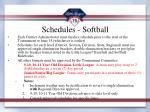 schedules softball