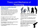theory and mechanics of positioning