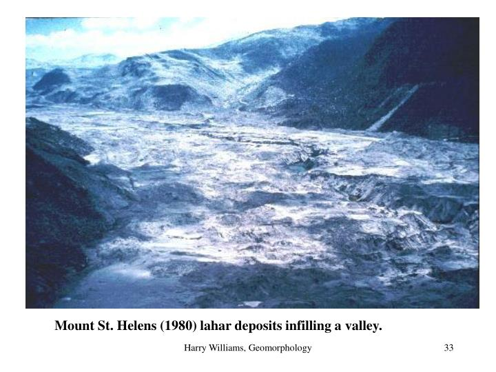 Mount St. Helens (1980) lahar deposits infilling a valley.