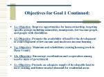 objectives for goal 1 continued