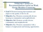 subgroup changes to recommendations based on work group member comments