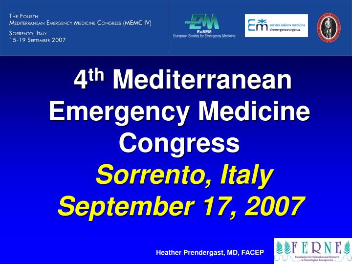4 th mediterranean emergency medicine congress sorrento italy september 17 2007