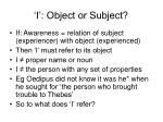 i object or subject