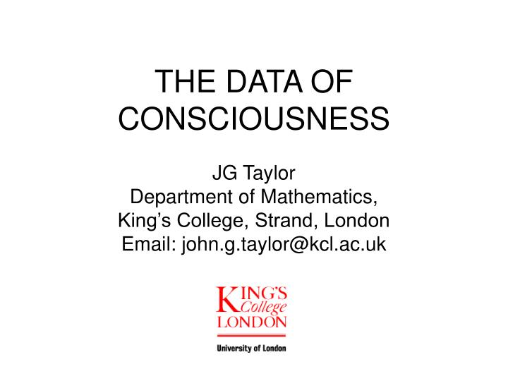 the data of consciousness n.