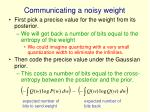 communicating a noisy weight