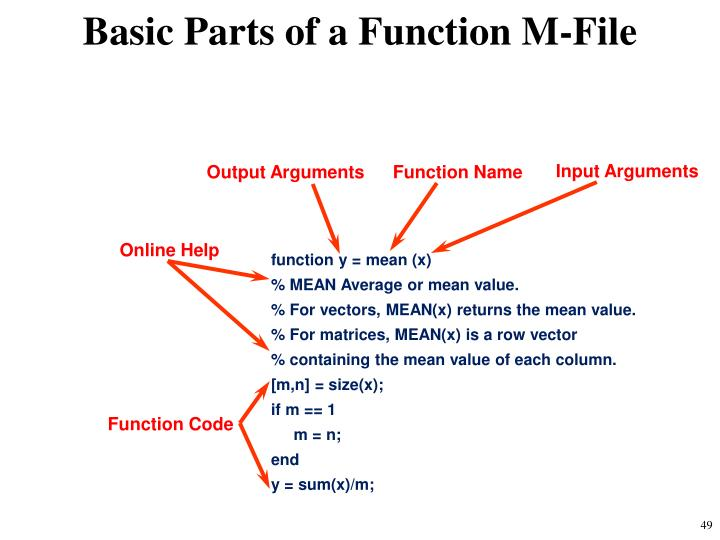 Basic Parts of a Function M-File