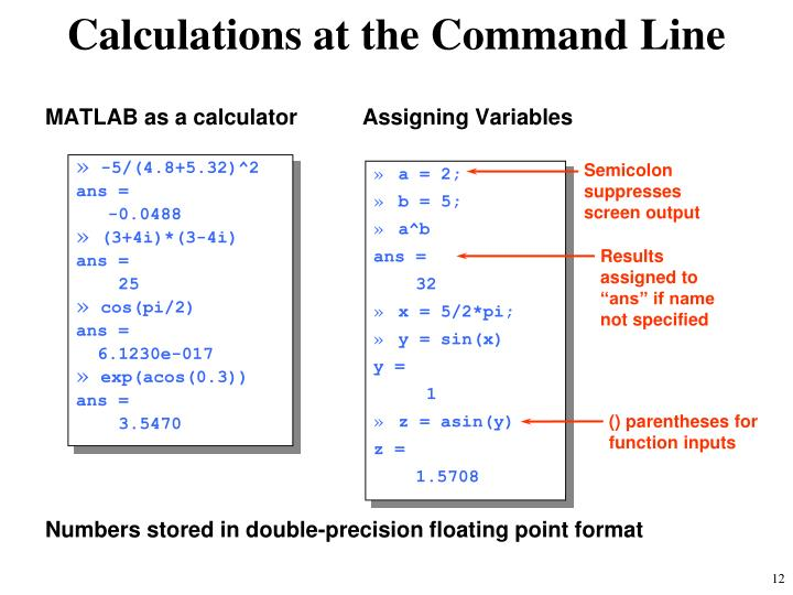 Calculations at the Command Line