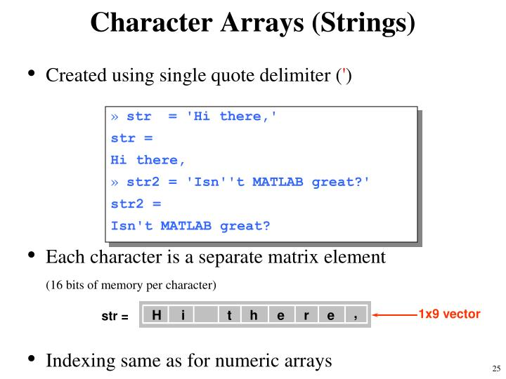 Character Arrays (Strings)