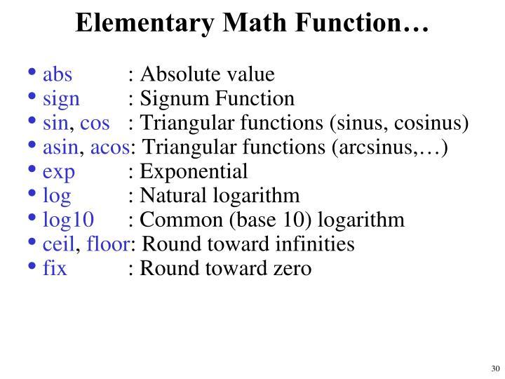 Elementary Math Function…