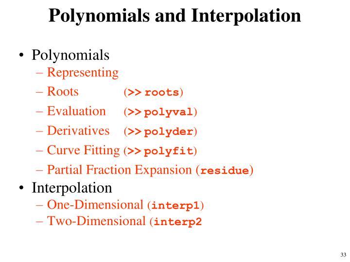 Polynomials and Interpolation