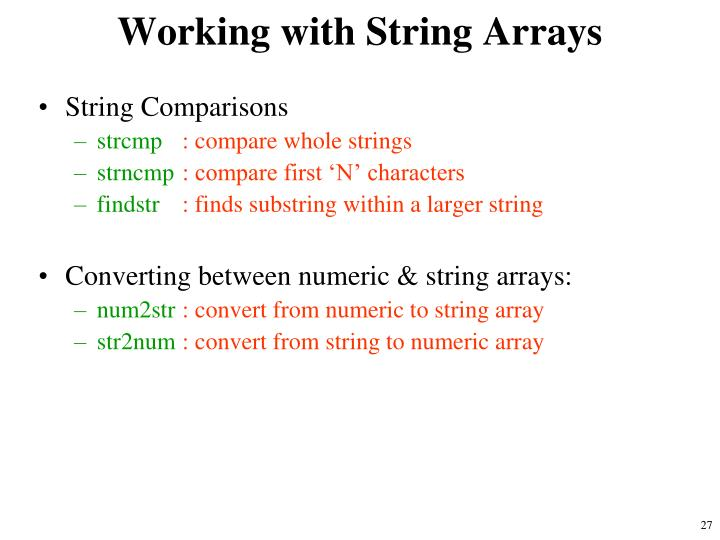 Working with String Arrays