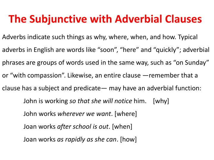 Ppt The Subjunctive With Adverbial Clauses Powerpoint Presentation