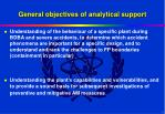 general objectives of analytical support