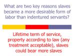 what are two key reasons slaves became a more desirable form of labor than indentured servants