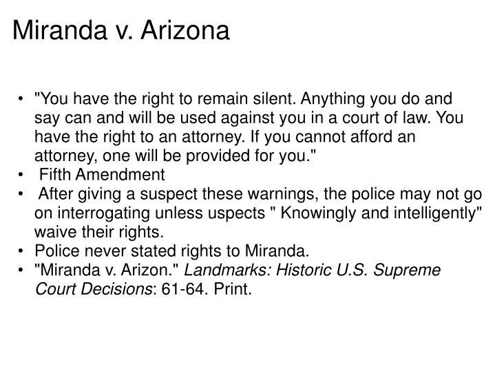 a study of the case of miranda v arizona