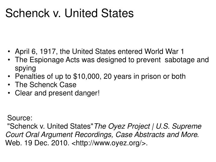schenck v us essay Get information, facts, and pictures about schenck v united states at  encyclopediacom make research projects and school reports about schenck v  united.