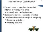 net income or cash flows