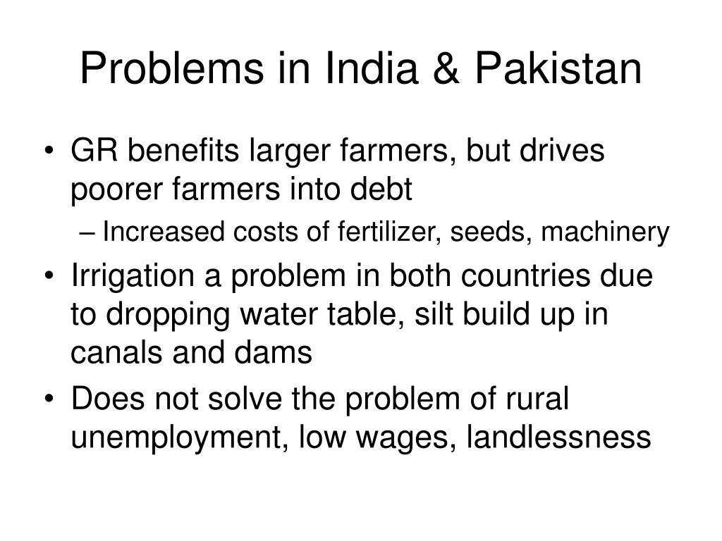 Problems in India & Pakistan