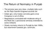 the return of normalcy in punjab