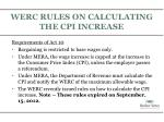 werc rules on calculating the cpi increase