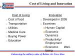 cost of living and innovation