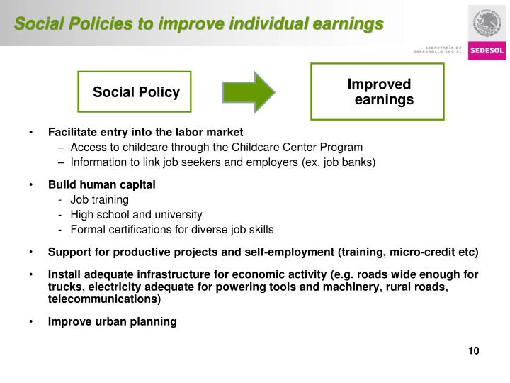 Social Policies to improve individual earnings