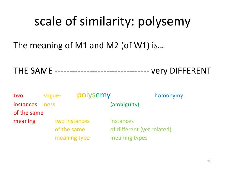 scale of similarity: polysemy